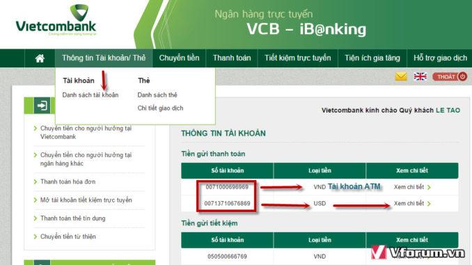 kiểm tra số tài khoản ngân hàng vietcombank